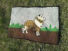 Antique Folk Art Hooked Rug Collie Dog