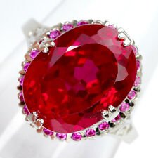 OVAL CUT 14 X 11 mm. RICH RED TOPAZ 10.65 ct. STERLING 925 SILVER RING SZ 7.0