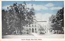 Paw Paw Michigan Court House Antique Postcard J65874