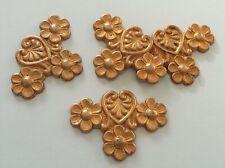 Lot 4 Anciennes Plaques motif FLEURS Créations Bijoux Décoration en Métal