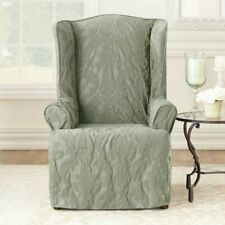 NEW SURE FIT Matelasse Damask Wing Chair Slipcover - Sage Green