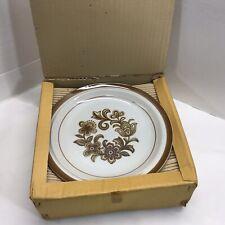 Monterrey Stoneware Brown Floral Dinner Plate Set of 6 Brand New in Box