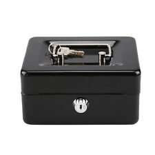 Metal Steel Petty Money Cash With Coin Tray Box Bank Security Lock 2 Keys New