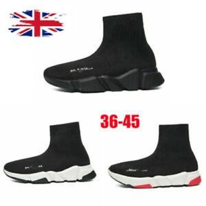 UK Men's Women's Trainers Slip-on Knit Sock Running High top Sneaker Shoes