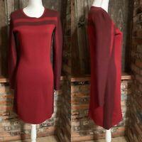 Athleta Boreal Women's Dress Size S Maroon Red Block Stripe Wool Blend Knit