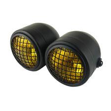 Headlight Motorcycle Lamp Dual Twin Mesh Protector Cover Yellow Black Bike