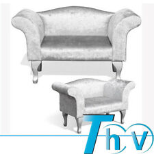 Silver Crushed Velvet Single Bedroom Chair Bench Chaise Lounge Armchair