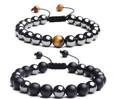 Natural Black Hematite Tigers Eye Bead Men Women Adjustable Bracelet Lucky Charm