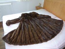 PELLICCIA ampia lunga da donna in VISONE selvatico marrone pelzmantel fur coat