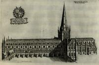 England Norwich Cathedral Southern View 1655 antique engraved print