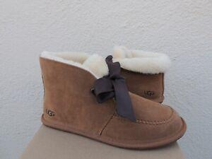 UGG CHESTNUT KALLEN LACE SHEEPWOOL CUFF SLIPPER BOOT, WOMEN US 11/ EUR 42 ~NEW