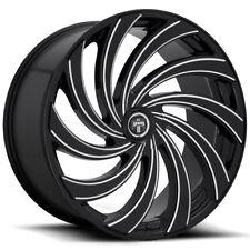 "4-Dub S239 Delish 24x10 5x115/5x120 +5mm Black/Milled Wheels Rims 24"" Inch"