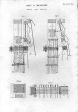 Stampa antica TELAIO per TESSITURA JACQUARD particolari 1848 Old print