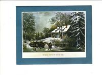 VINTAGE CHRISTMAS CARD CURRIER & IVES PRINTS THE SNOW-STORM 1982 PLUS MARK INC