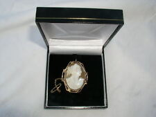 Antique 9ct gold surround cameo brooch pendant with safety chain