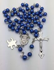 Autism Awareness Rosary Beads - Royal Blue Beads