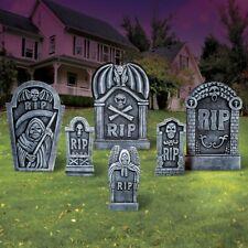 Set of 6 Spooky RIP Halloween Cemetery Tombstones Yard Stakes