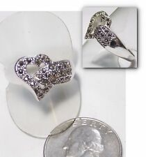 Striking Signed Ring, Open Heart & Buckle w/Marcasites, White Gold Plate Size 10