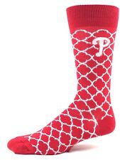Philadelphia Phillies Baseball Red & White Quatrefoil Crew Socks