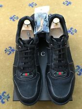Gucci Mens Trainers Sneaker Black Canvas Leather Shoes UK 10 US 11 EU 44 Web
