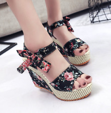 Womens Floral Printed Bow Open Toe Sandals Wedge Heel Pumps Slingback Shoes New