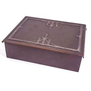 FINE HEINTZ Sterling On Bronze Arts & Crafts Hinged Box, Orig Patina, Wood Liner