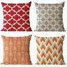 Simple Geometry Cotton Linen Pillow Case Sofa Waist Bed Cushion Cover Home Decor
