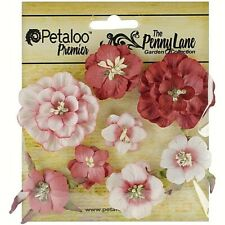 Mixed Blossoms Antique Red 8 Paper Flowers 25-45mm Across Penny Lane Petaloo