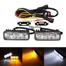 2x 3 LED 12V High Power Car White DRL & Amber Daytime Running Turn Signal Light