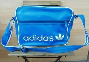 Adidas Mens Sport Gym Messenger Bag Blue White Cross Body Shoulder Vintage 90s