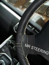 Se adapta a 98-05 Mazda MX5 Miata Verdadero Cuero crema cubierta del volante doble puntada