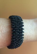 Woven Beaded Cuff Bracelet in Black Seed Beads