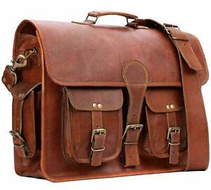 Men Genuine Leather Briefcase Handbag Business School Laptop Sachel Shoulder Bag