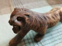 """Vintage Handcrafted Wood Carved """"TIGER"""" Figurine 2.5 x 5.5"""" inches NICE"""