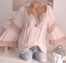 Lockre Sitzende Damenblusen,-Tops & -Shirts im Tuniken-Stil mit Viskose ohne Muster