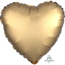 "New 18"" GOLD Sateen Amscan SATIN Luxe Helium Foil BALLOON STAR ROUND HEART"