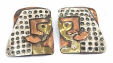 EARLY Vtg SIGNED Modernist CINDY BOLIN Sterling Silver MIXED METAL Earrings BIG!