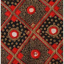 "New listing Tcw Vintage Satin Silk Hand Beaded Aplique Decor Black Craft 17""X15"""