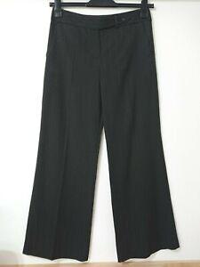 M&S Autograph Black Pinstripe Wide Leg Smart Trousers Size 10 Med Work Career