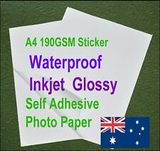 20sheets A4 190GSM Inkjet Waterproof Self Adhesive Glossy Photo Print Paper