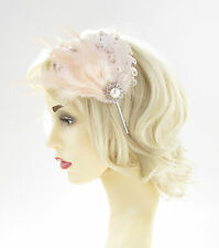 Cream Peach Ivory Silver Feather Headband Headpiece 1920s Flapper Vtg Curly 561