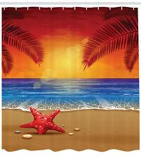 Sunset Cartoon Tropic Beach Starfish Palms Ocean Art Print Shower Curtain Set