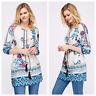 Womens Casual Boho Jacquard Floral Embroider Print Shift 3/4 Sleeve Tunic Dress