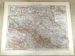 1906 Antique Map of Germany Poland Silesia Europe Old LARGE GERMAN Lithograph