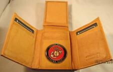 USMC US MARINE CORPS LOGO TAN QUALITY GENUINE LEATHER TRIFOLD WALLET NEW