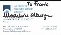 Madeleine Albright Secretary State Signed Business Card Authentic Auto Autograph