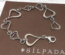 "Silpada B1701 Hammered Sterling ""Spread the Love"" Heart Link 7.5"" Bracelet 9.4g"