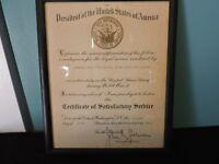 WWII USNR Certificate Of Satisfactory Service Commander Reuel Vance Robinson 48