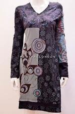 Hippy Boho patchwork PSICHEDELICO floreale OTTICO tunica abito di cotone nero 12