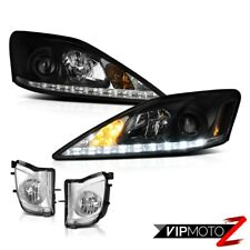 Black LED DRL Headlights Assembly+Foglights Set PAIR For 4DR 2006-2010 Lexus 2IS